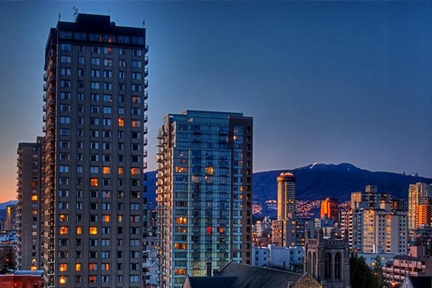 Downtown Vancouver skyline near Robson Street